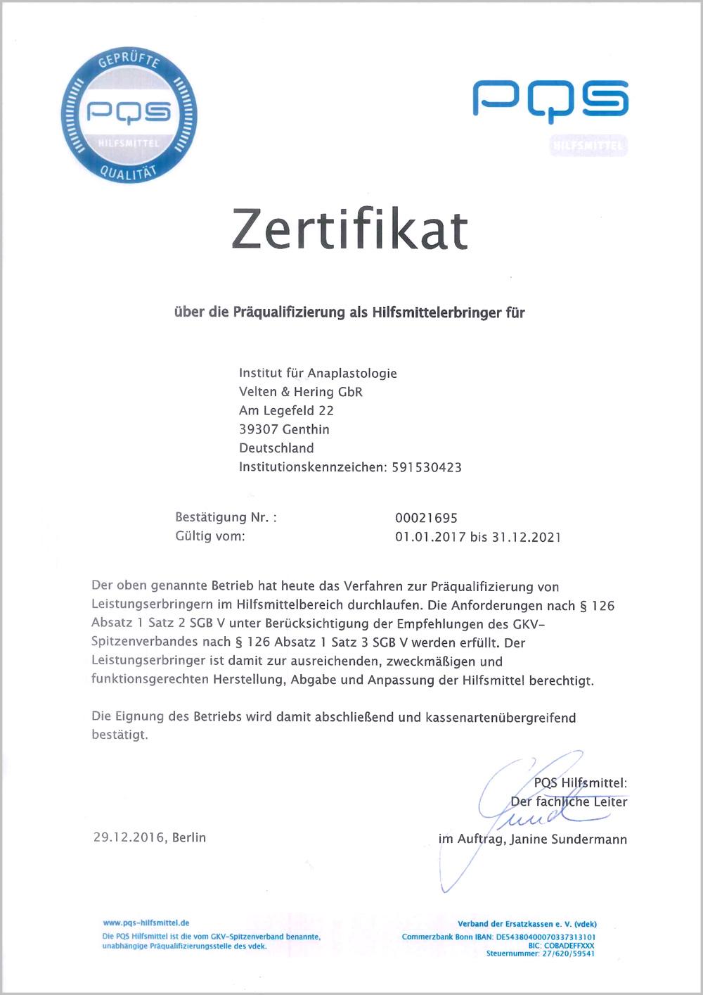 Zertifikat-Präqualifizierung